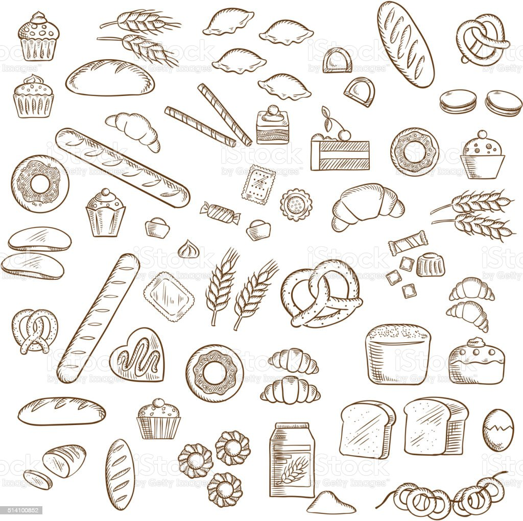 Bakery, pastry and confectionery sketches vector art illustration