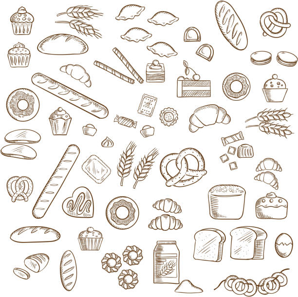 Bakery, pastry and confectionery sketches Bakery, pastry and confectionery sketched icons with various breads and loafs, croissants and pretzels, donuts and cakes, cookies and cupcakes, candies and bagels bread drawings stock illustrations