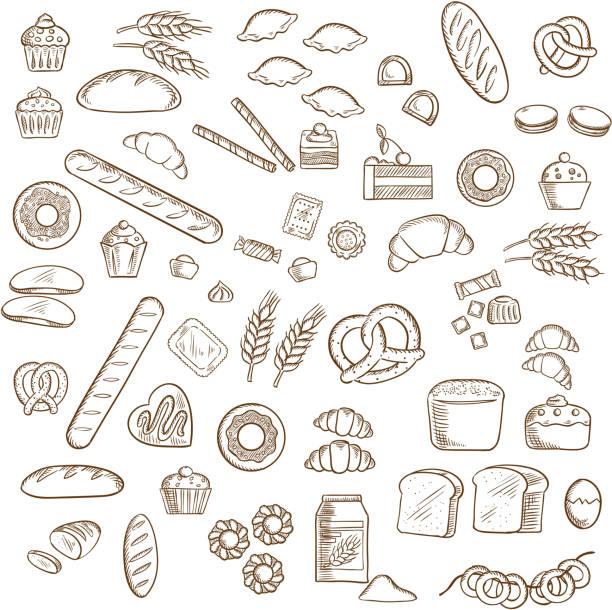 illustrazioni stock, clip art, cartoni animati e icone di tendenza di pane, pasticceria e pasticceria schizzi - pane forno