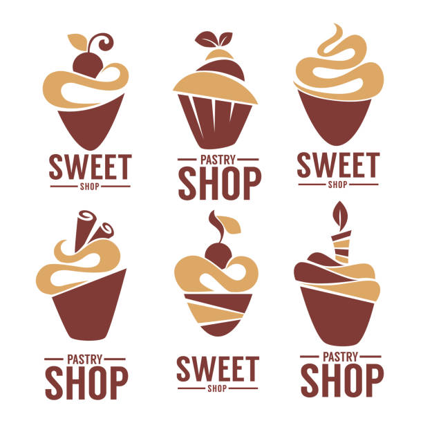 bakery, pastry, confectionery, cake, dessert, sweets shop, vector and emblem collection vector art illustration