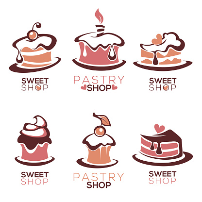bakery, pastry, confectionery, cake, dessert, sweets shop, vector icon and emblem collection