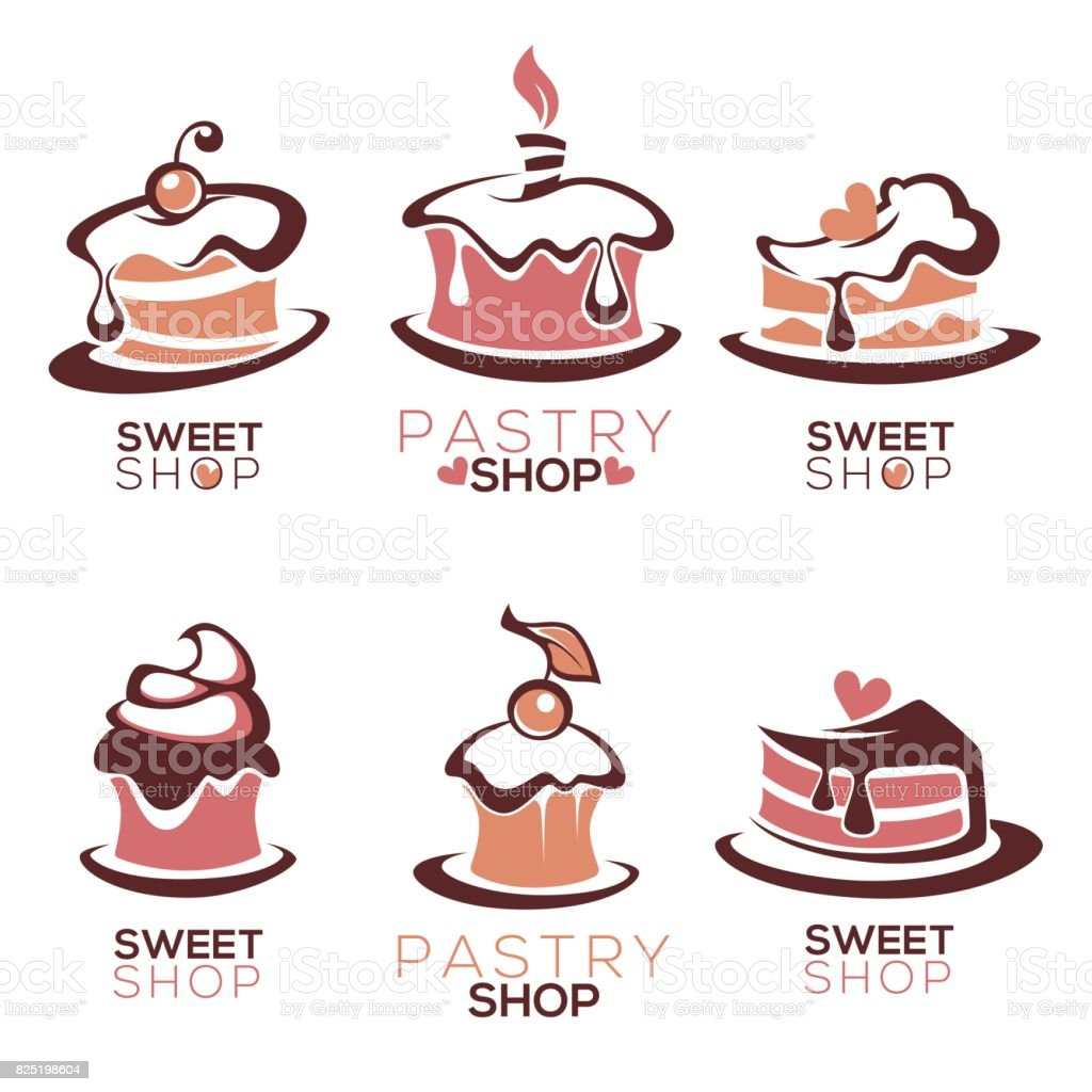 bakery, pastry, confectionery, cake, dessert, sweets shop, vector icon and emblem collection vector art illustration