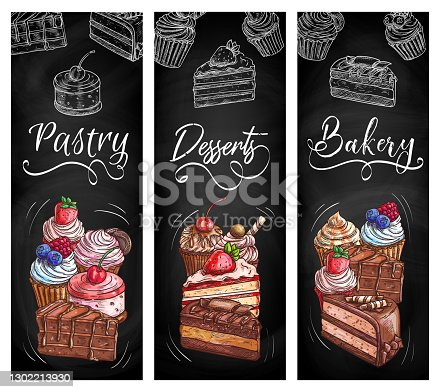 istock Bakery pastry desserts chalkboard sketch banners 1302213930