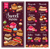 Baker shop pastry menu, bakery cakes and desserts, cafe patisserie cookies. Vector berry cake, tiramisu and cheesecake, muffins with chocolate glazing and fruit souffle, donuts, croissants and waffles