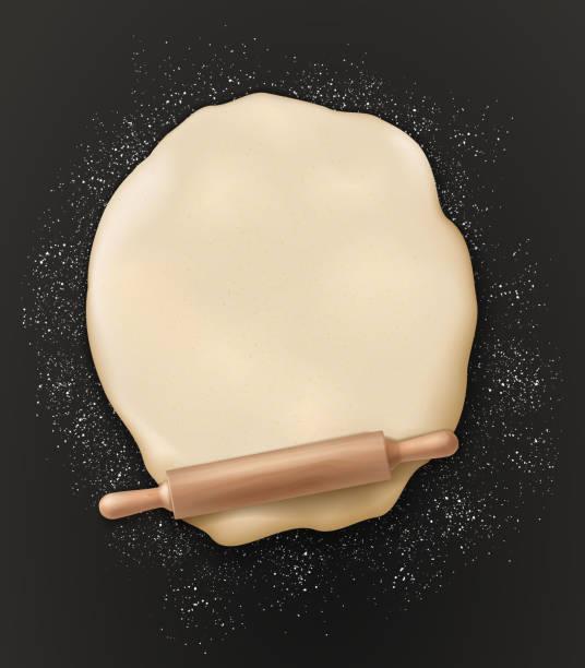 illustrazioni stock, clip art, cartoni animati e icone di tendenza di bakery poster, dough knead and rolling pin - impastare