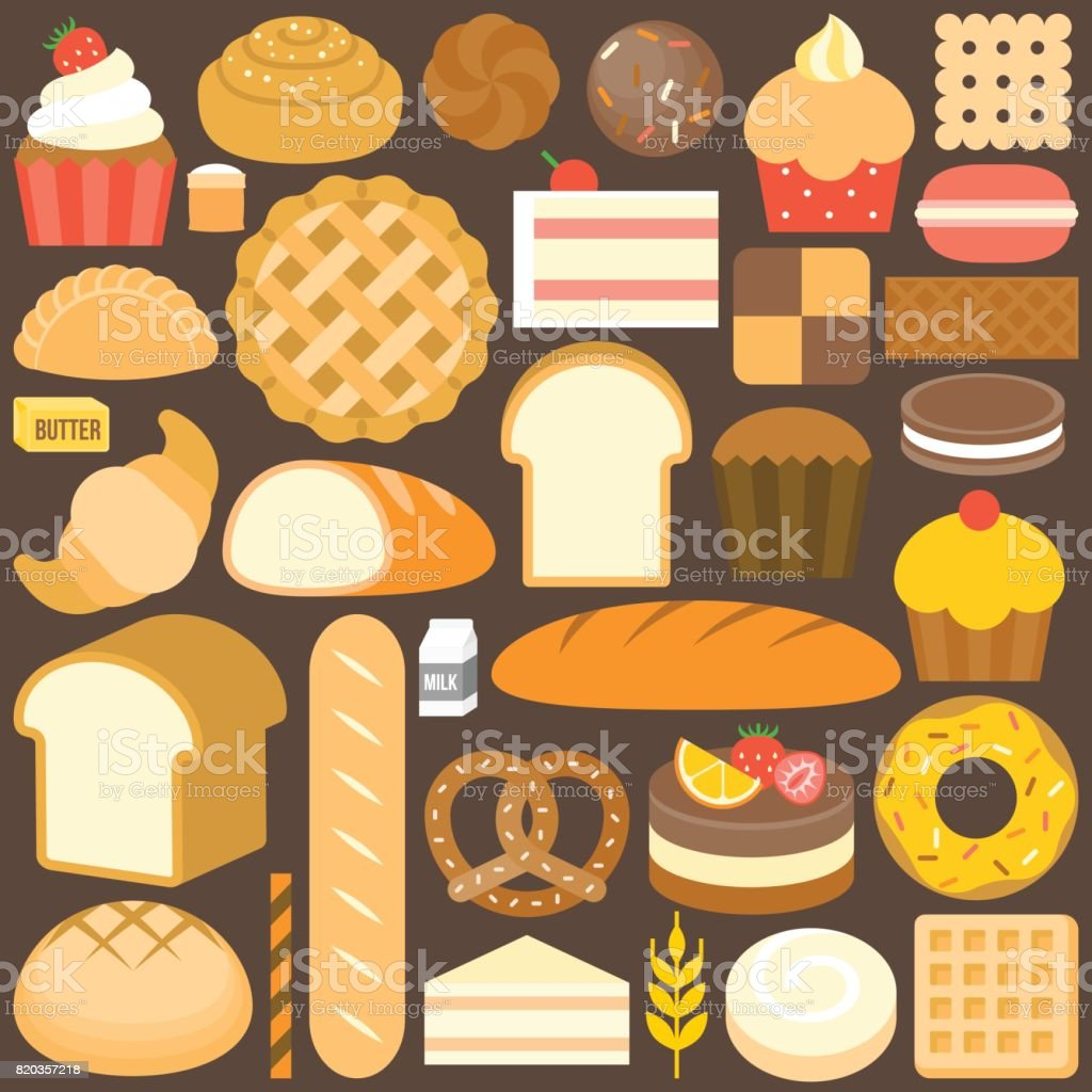 bakery product icon set in flat design vector vector art illustration