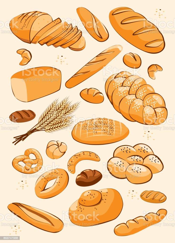 Bakery product set vector art illustration