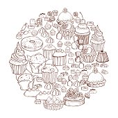 Bakery products background. Cookies, cakes, sweets. Vector sketch  illustration.