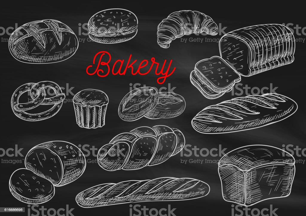 Bakery products chalk sketches on blackboard向量藝術插圖