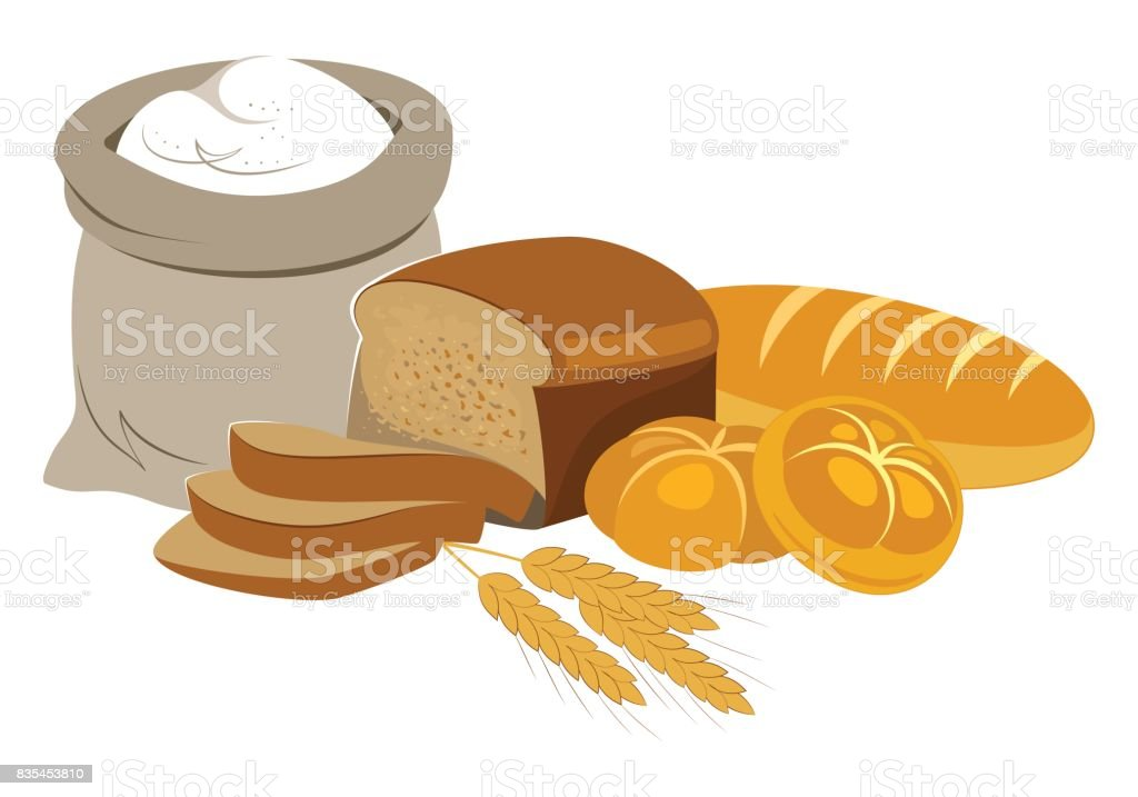 Bakery Products Food Collection. vector art illustration