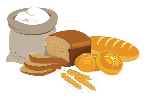 ベーカリー製品のフード コレクション。 - 食パン点のイラスト素材/クリップアート素材/マンガ素材/アイコン素材