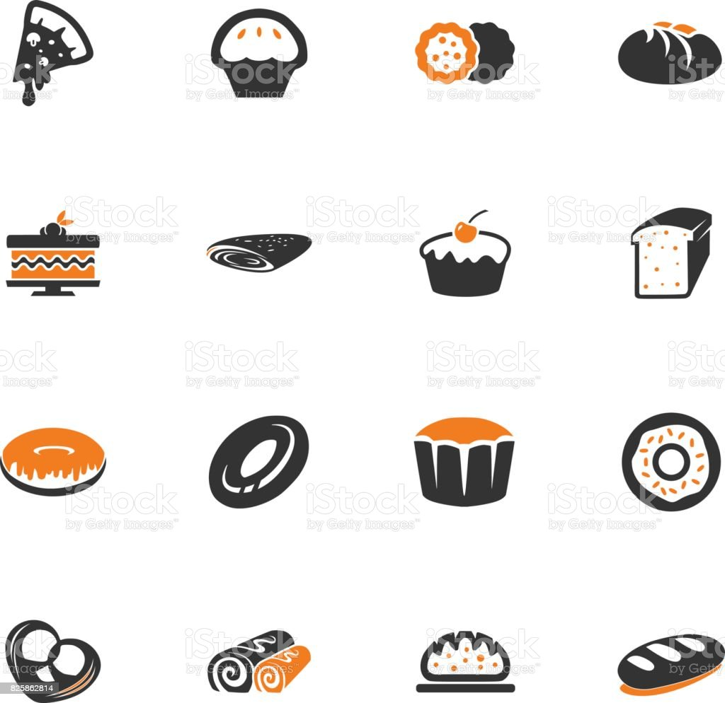 Bakery products icons set vector art illustration