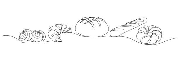 illustrazioni stock, clip art, cartoni animati e icone di tendenza di bakery products - pane forno