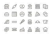 Bakery - Regular Line Icons - Vector EPS 10 File, Pixel Perfect 24 Icons.