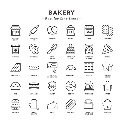 Bakery - Regular Line Icons