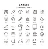 Bakery - Regular Line Icons - Vector EPS 10 File, Pixel Perfect 30 Icons.