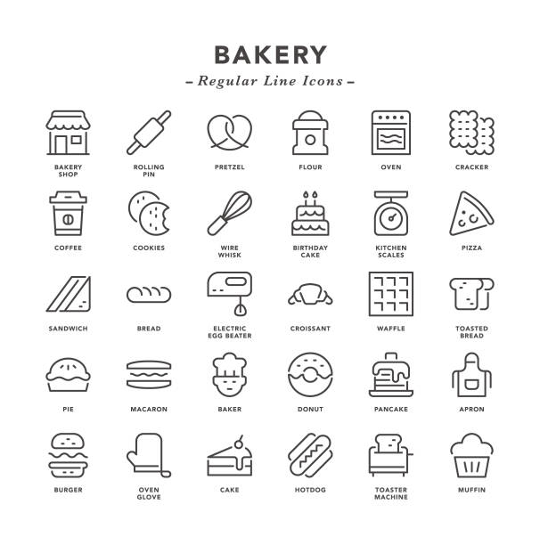 Bakery - Regular Line Icons Bakery - Regular Line Icons - Vector EPS 10 File, Pixel Perfect 30 Icons. cake patterns stock illustrations