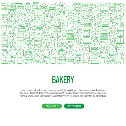 Bakery Related Banner Design with Pattern. Modern Line Style Icons Vector Illustration