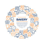 Bakery Related Concept - Colorful Line Icons, Arranged in Circle