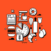 Bakery Related Line Design Style Web Banner