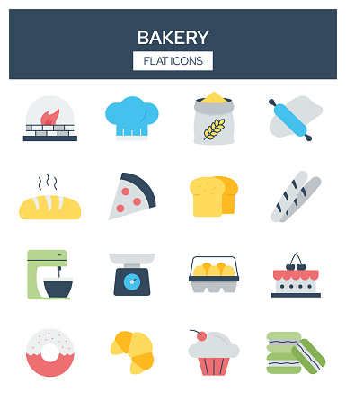 Bakery Related Modern Flat Icons Vector Collection