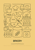 Bakery Related Modern Line Design Brochure, Poster, Flyer, Presentation Template Vector Illustration