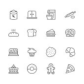 Bakery Related - Set of Thin Line Vector Icons
