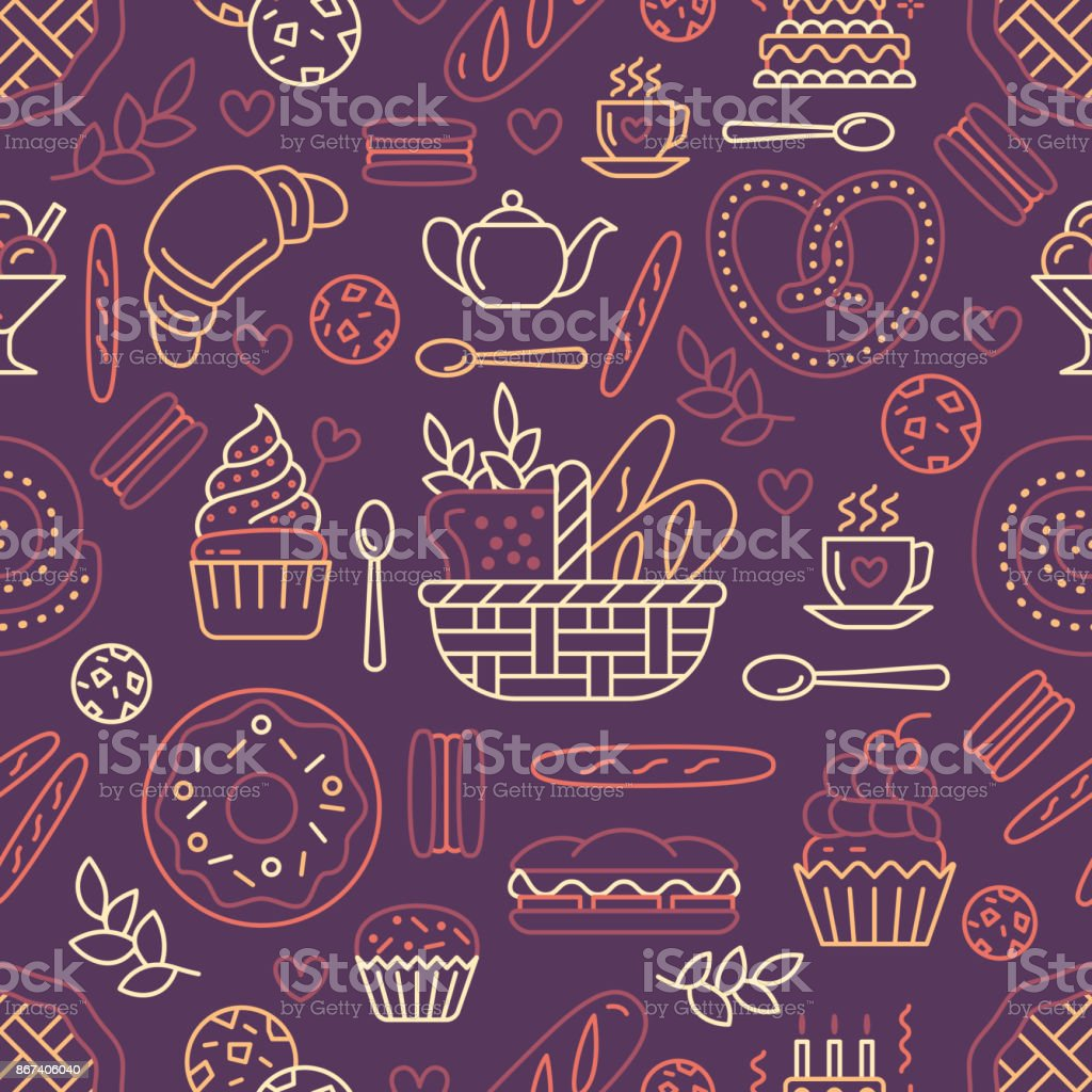 Bakery seamless pattern, food vector background of beige color. Confectionery products thin line icons - cake, croissant, muffin, pastry, cupcake, pie. Cute repeated illustration for sweet shop vector art illustration