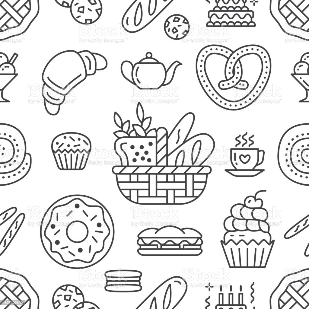 Bakery seamless pattern, food vector background of black, white color. Confectionery products thin line icons - cake, croissant, muffin, pastry, cupcake, pie. Cute repeated illustration for sweet shop vector art illustration