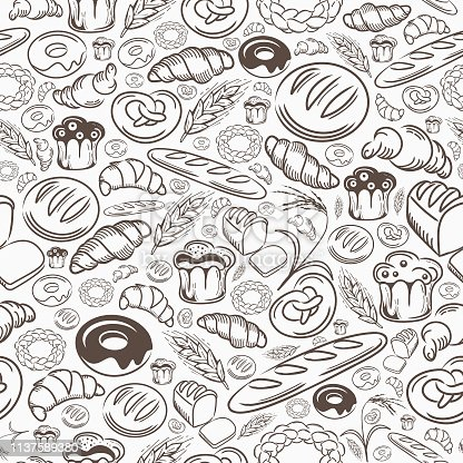 A hand drawing seamless pattern of bakery delights.