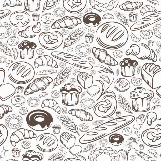 Bakery Seamless Pattern A hand drawing seamless pattern of bakery delights. bread backgrounds stock illustrations