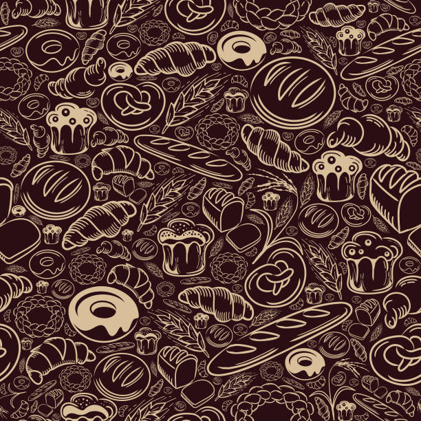 Bakery Seamless Pattern A hand drawing seamless pattern of bakery delights. bread designs stock illustrations