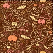 A seamless pattern of bakery delights.
