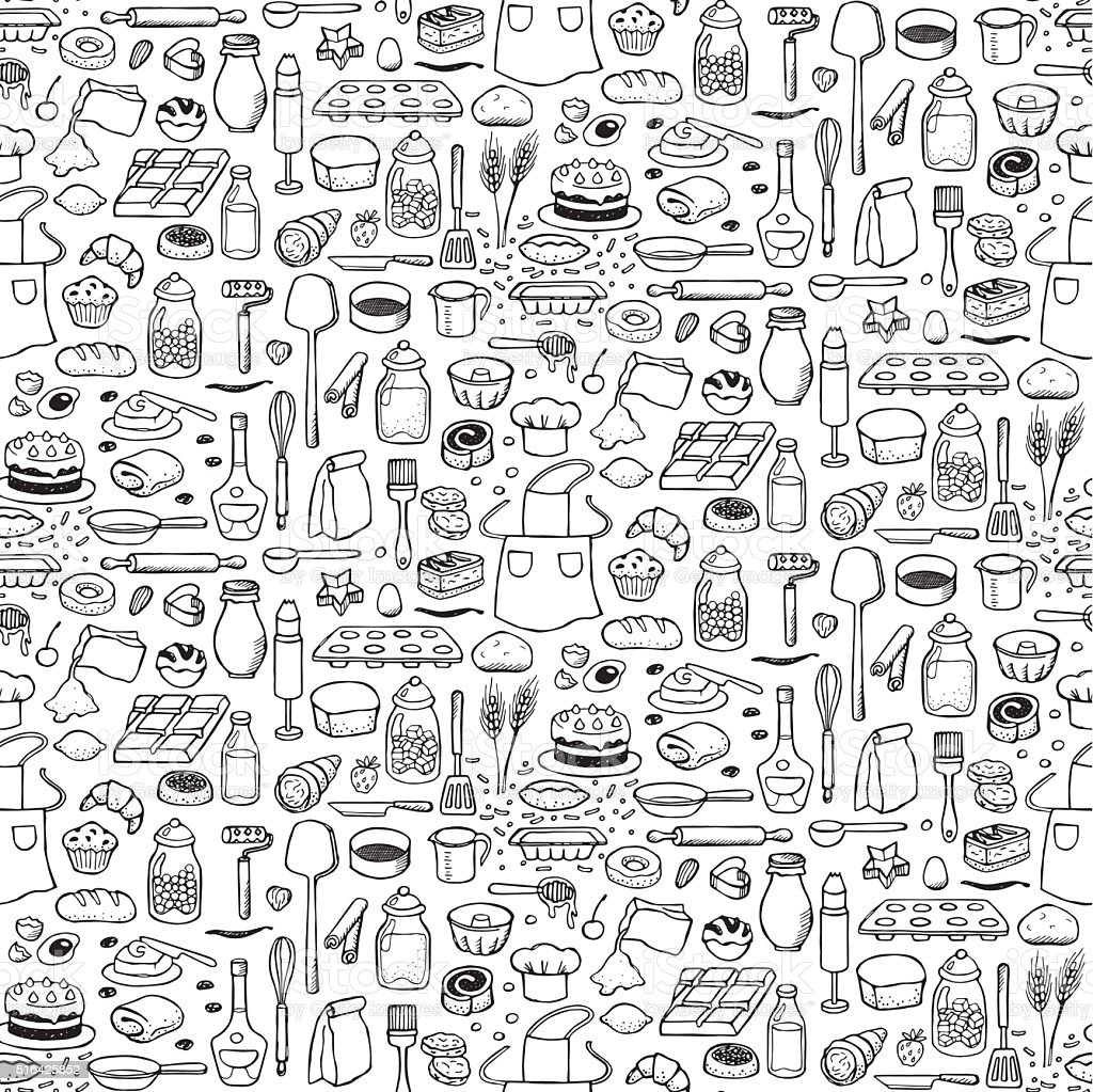 Ilustración de Panadería Patrón Sin Costuras y más banco de imágenes ...