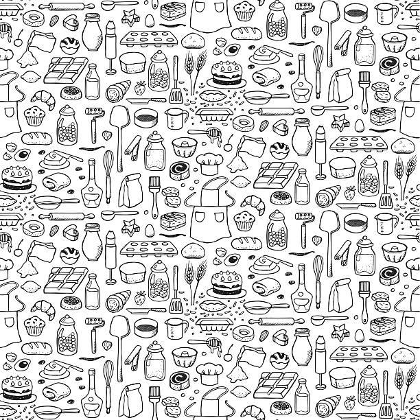 ベーカリーシームレスなパターン - フランス料理点のイラスト素材/クリップアート素材/マンガ素材/アイコン素材
