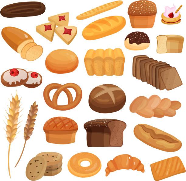 bildbanksillustrationer, clip art samt tecknat material och ikoner med bageri set - söt bulle