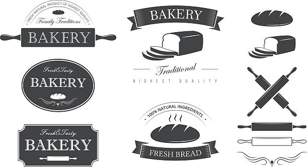 Bakery set Bakery elements and labels set rolling pin stock illustrations