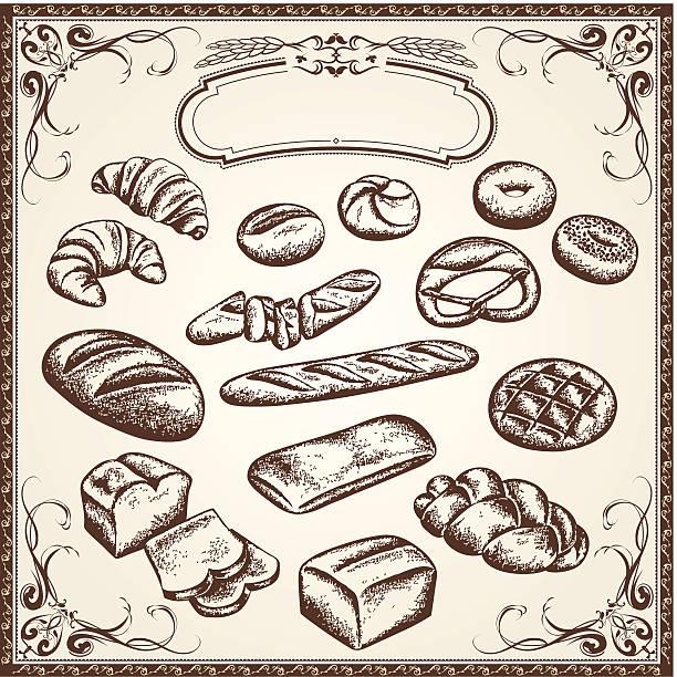 セット全粒小麦パン - 食パン点のイラスト素材/クリップアート素材/マンガ素材/アイコン素材