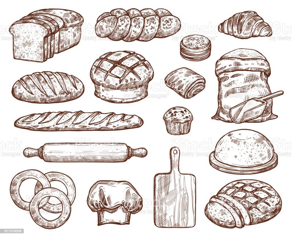 Boulangerie avec beaucoup de pain frais types. - Illustration vectorielle