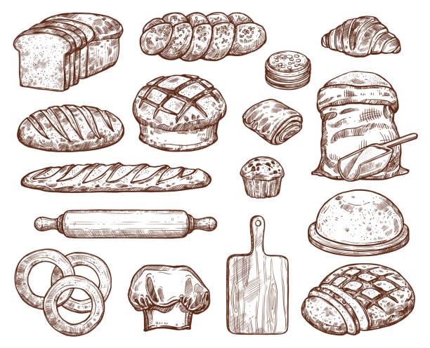 illustrazioni stock, clip art, cartoni animati e icone di tendenza di bakery set with a lot of types fresh bread. - pane forno