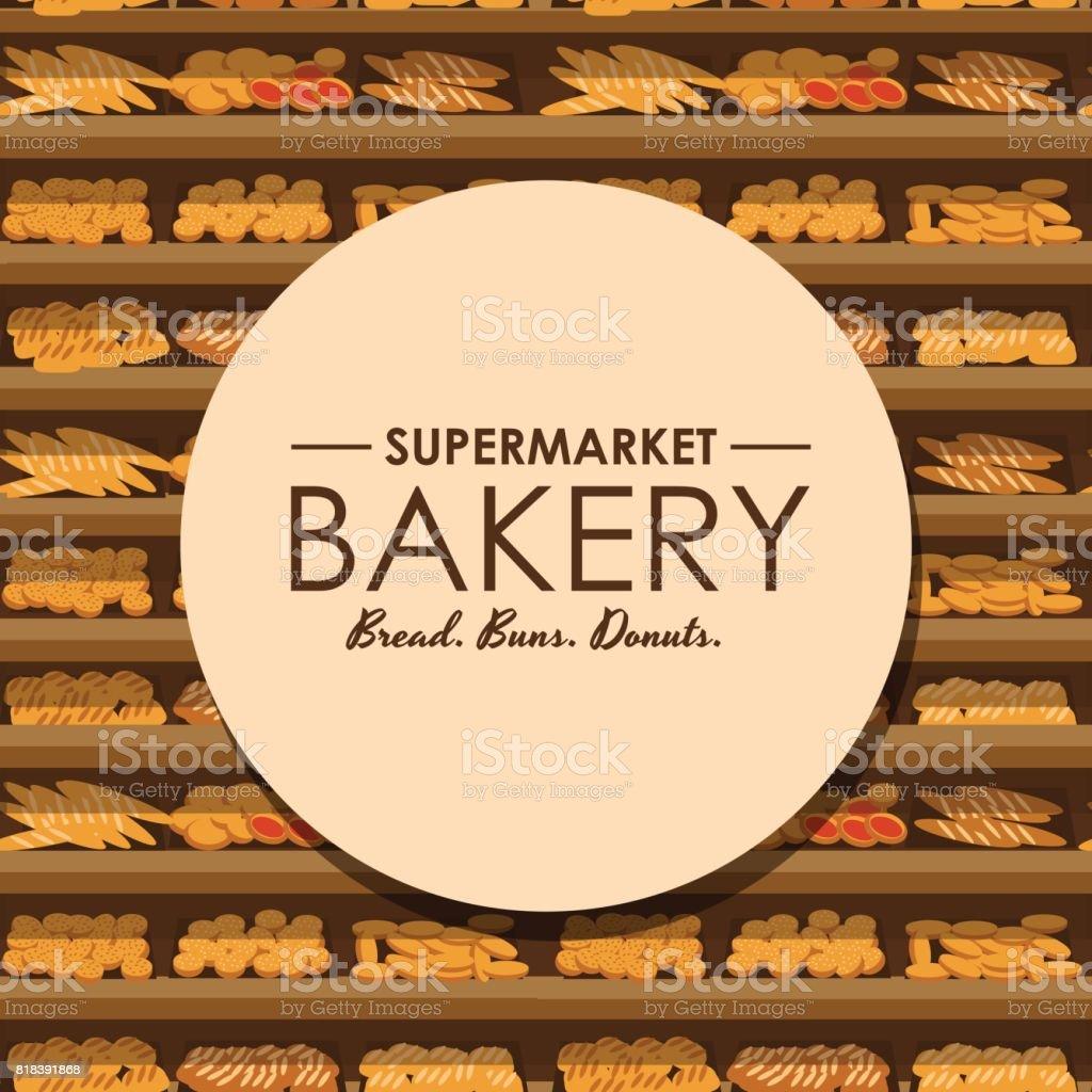 スーパー マーケット食品店舗内装店舗のベクトル図で新鮮な食材の販売の大きな選択でパンとパン屋さんの棚 店のベクターアート素材や画像を多数ご用意 Istock