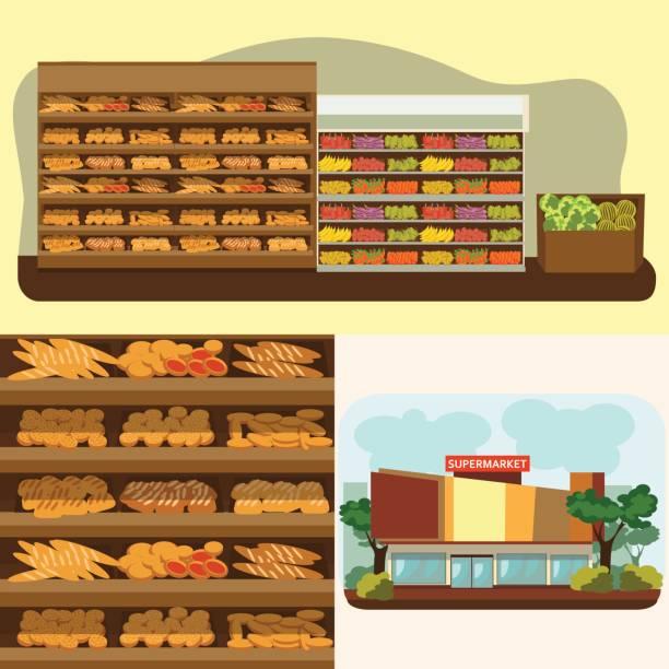 bäckerei-regal mit brot im supermarkt, große auswahl an frischen produkten verkauf lebensmittel geschäft innen, shop-vektor-illustration - tortenständer stock-grafiken, -clipart, -cartoons und -symbole