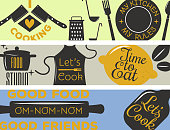 Bakery shop s, badges and labels design elements set. Bread cake cafe vintage style classic kitchen retro vector. Cooking  shop restaurant stamp typography.