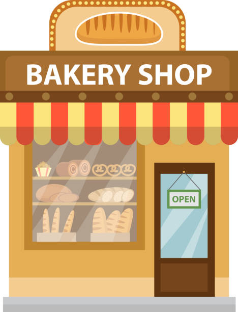 Bakery shop. Baking store building icon. Bread flat style. Showcases vector art illustration