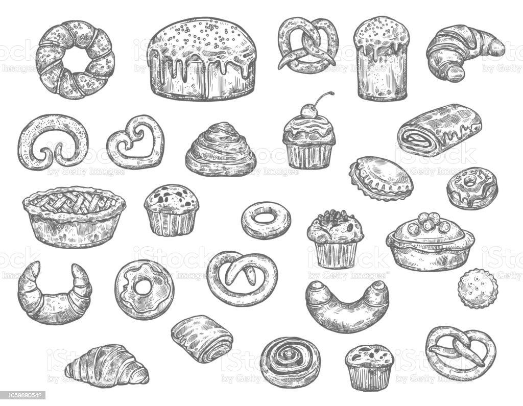 Boulangerie Boutique Pain Et Dessert Gâteaux Dessin Vectoriel