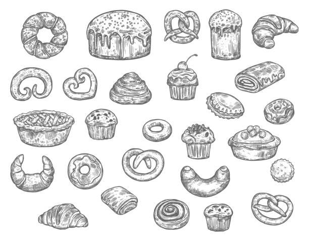 bäckerei shop brot und dessert kuchen, vektor-skizze - tiramisu stock-grafiken, -clipart, -cartoons und -symbole