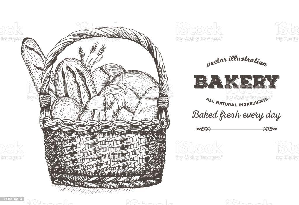 Bäckerei-Shop-Design. Brot-Korb-Design-Vorlage. Vektor-illustration – Vektorgrafik