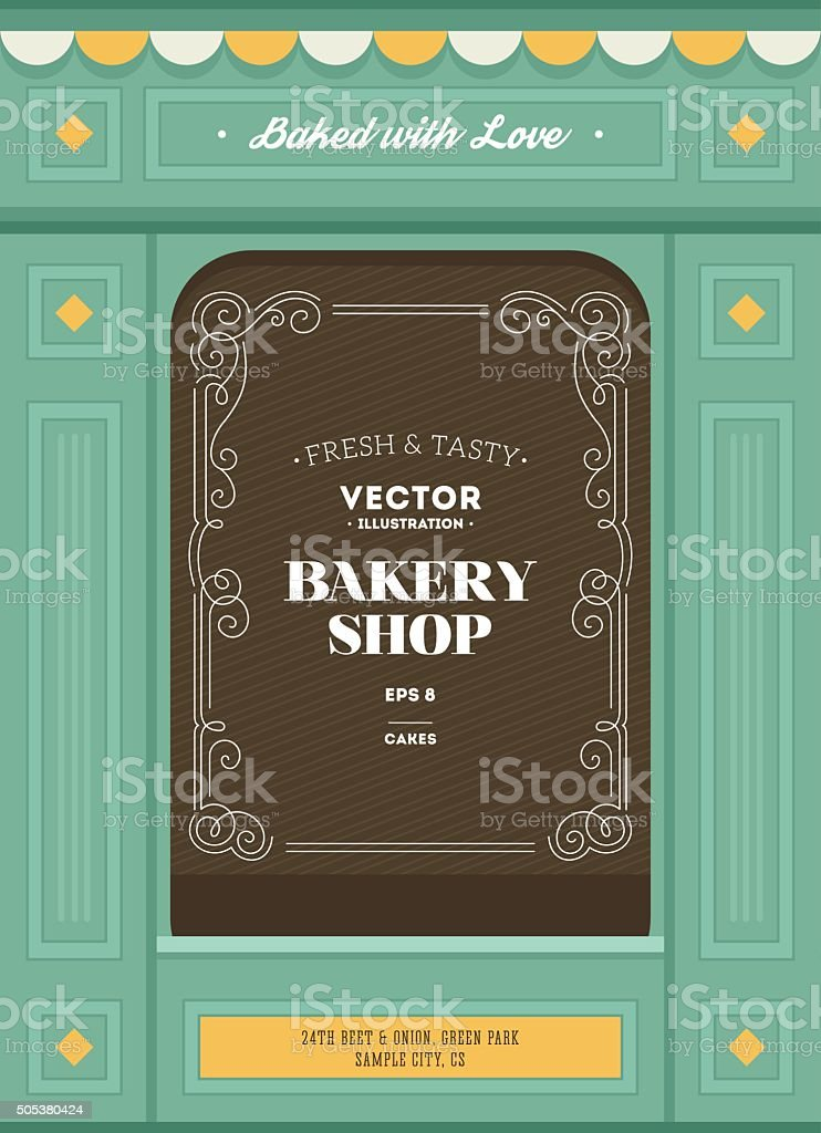 Bakery shop design template. Bread house. Vector illustration vector art illustration