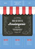 Bakery shop design template. Bread house. Vector illustration