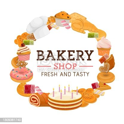 istock Bakery shop desserts cartoon vector round banner 1309381740